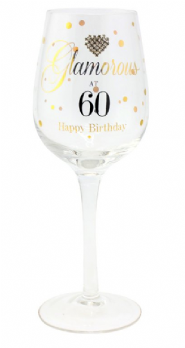 MAD DOTS GLAM AT 60 WINE GLASS
